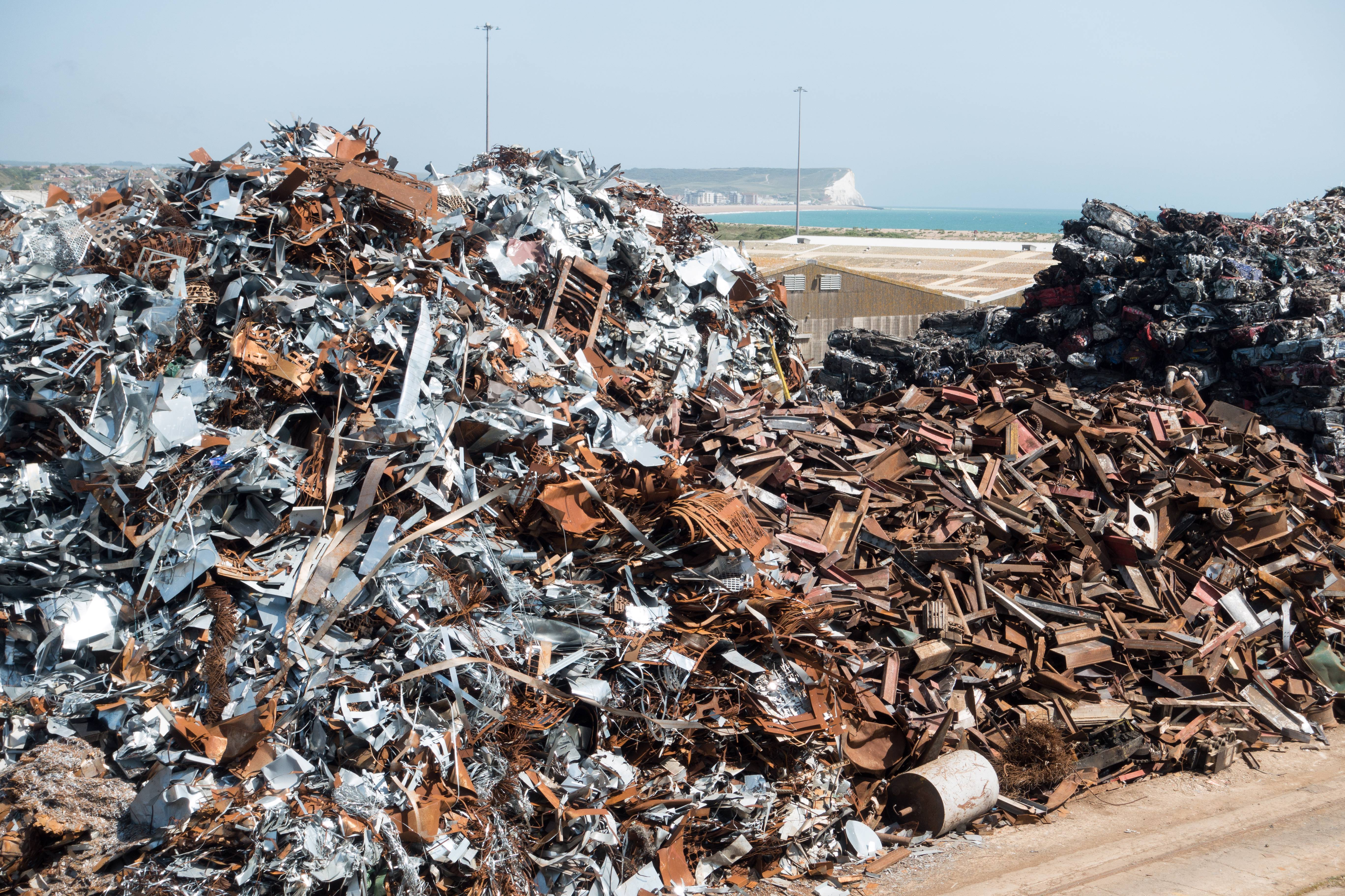 A large pile of metal waste