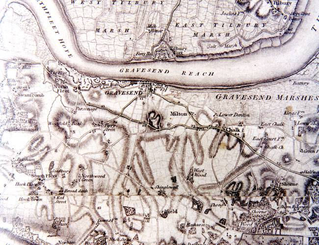 A section of the 1801 map of Kent.