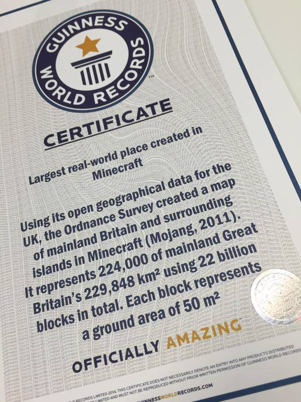 OS GB Minecraft map wins Guinness World Record