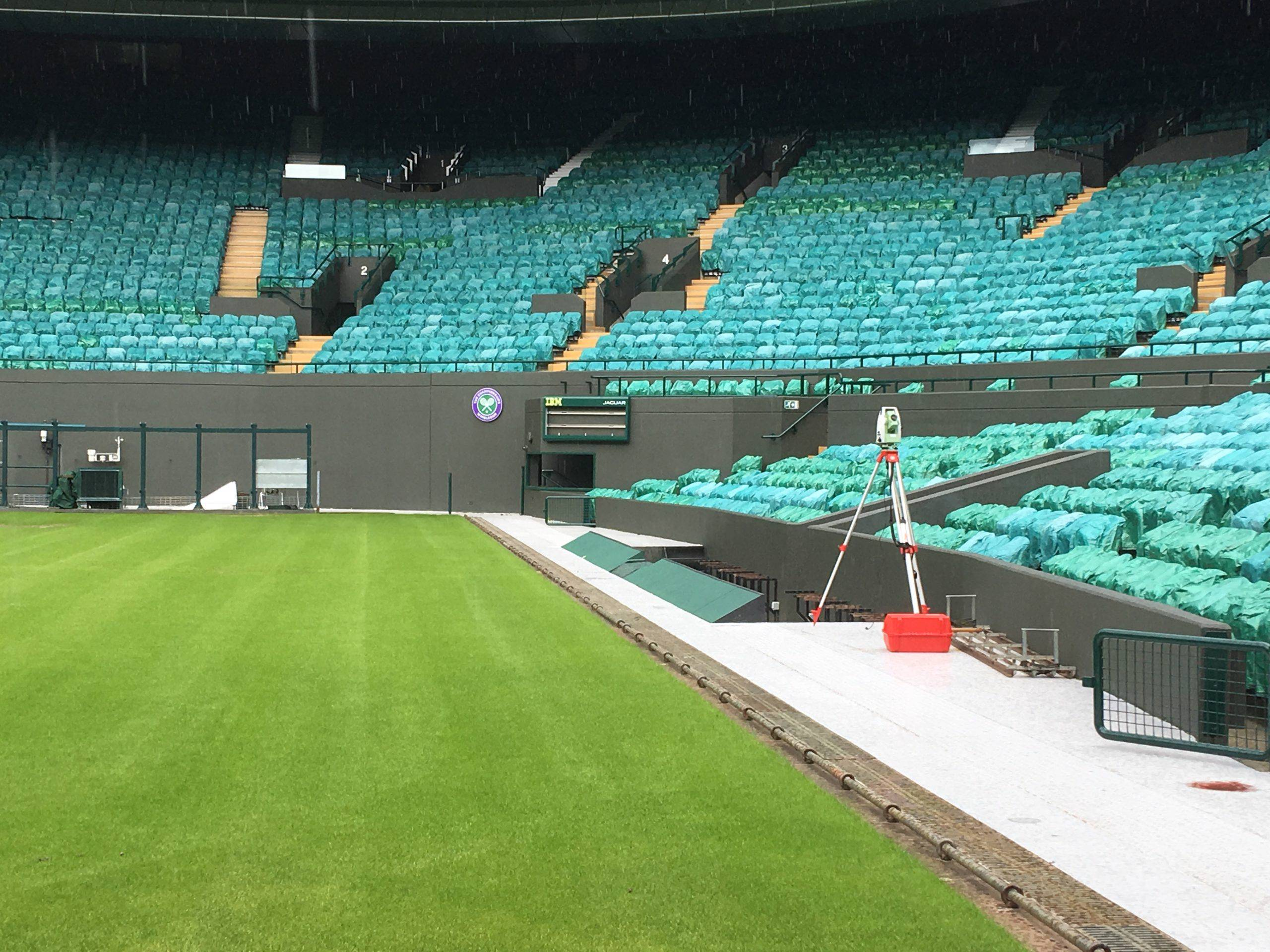 Wimbledon No. 1 Court being surveyed