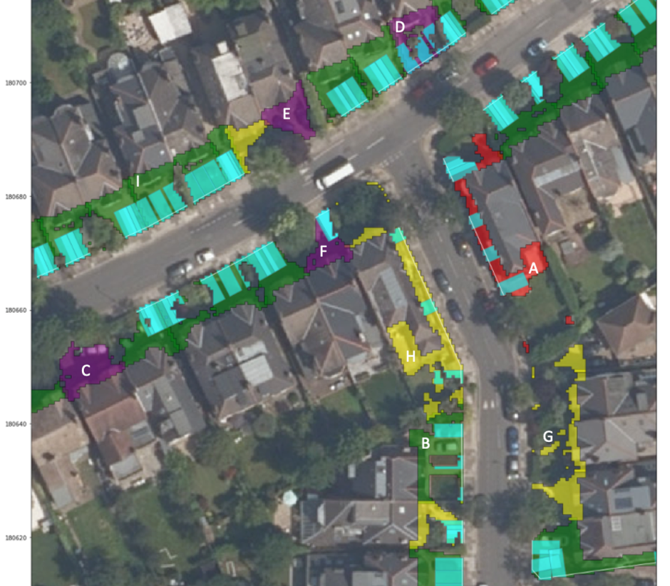 This data visualisation shows examples of the algorithm results validated against manual labelling: True Positives (green), True Negative (yellow), False Positive (red), False Negative (purple), parking rectangle overlap where fitted (cyan), roadside access linestring (white).