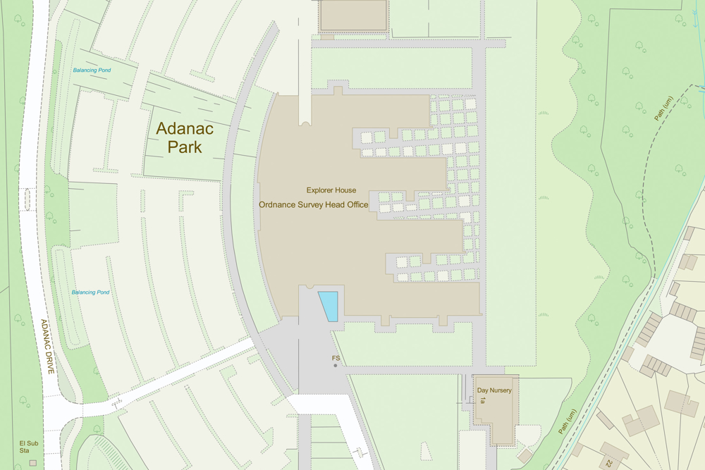 OS MasterMap Adanac Park Head office topography