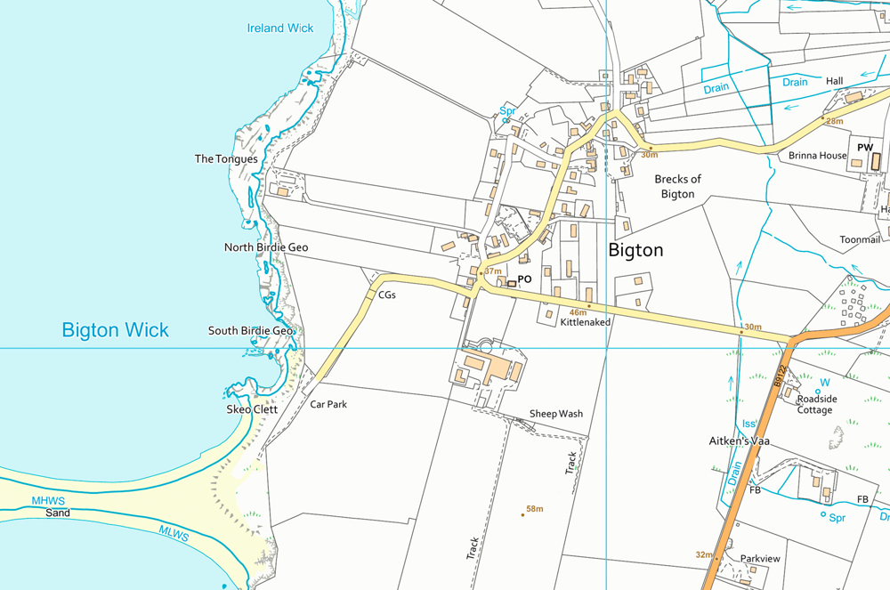 Map of Shetland using OS VectorMap Local